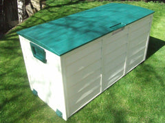 WATERPROOF GARDEN STORAGE SHED -  PLASTIC UTILITY BOX - GREEN