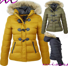 WOMENS QUILTED WINTER COAT PUFFER FUR COLLAR HOODED PARKA JACKET