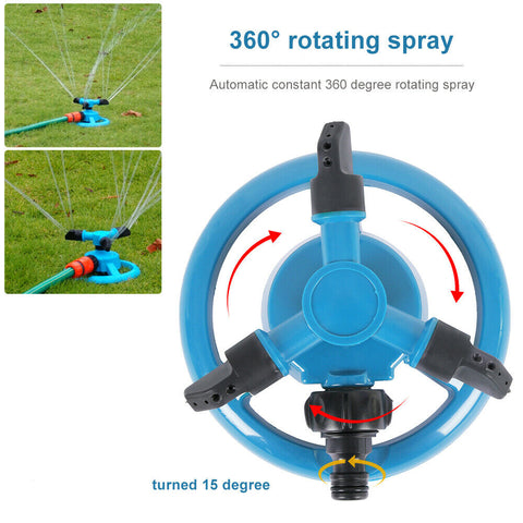 Image of Rotating 3-Arm Automatic Garden Sprinkler Lawn Watering System
