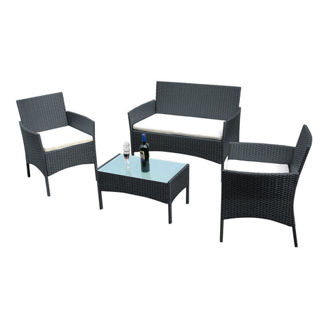 Image of Rattan Garden Furniture Patio Set - Table Chairs Sofa with Cushion -  4 Peice