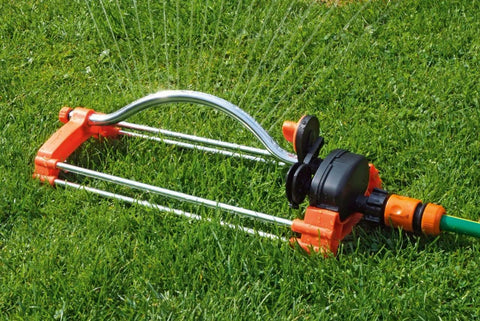 Image of Oscillating Lawn Sprinkler Watering Garden Pipe Hose Water Flow with Connector