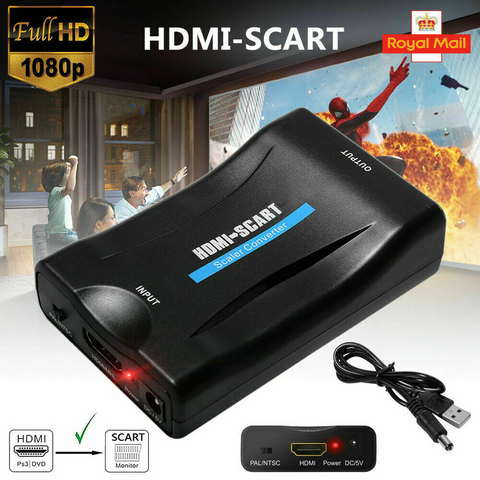 Image of 1080P HDMI to SCART Adapter Video Audio Converter USB Cable TV DVD PS3 SkyBox UK