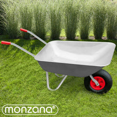 Metal Garden Wheelbarrow Builders Pneumatic Tyre Heavy Duty Steel 80L