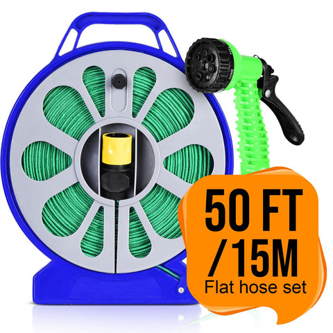 Image of Flat Garden Hose Reel & Pipe Outdoor with Spray Nozzle Gun Plants Watering 50ft