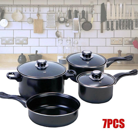 Image of Non Stick Cookware Saucepans - Cooking Pots Pan Set With Lids - 7 pcs