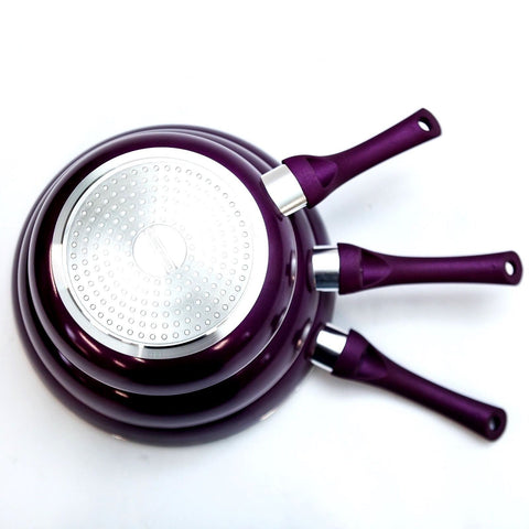 Image of Ceramic Stone Ware Marble Induction Frying Pan Set - 3 Pcs
