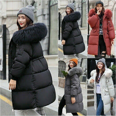 Women Winter Warm Fur Puffer Parka Long hooded Jacket