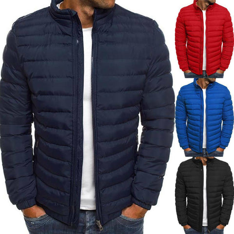Image of Men's Puffer Jacket Casual Quilted Winter Warm Coat