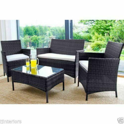 Image of RATTAN GARDEN FURNITURE 3 SEATER WICKER SOFA CLEARANCE PRICE OUTDOOR PATIO