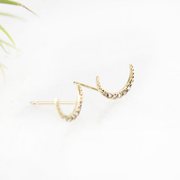 14k + Diamond Moon Studs