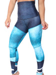 Abstract Blue High Waist Leggings