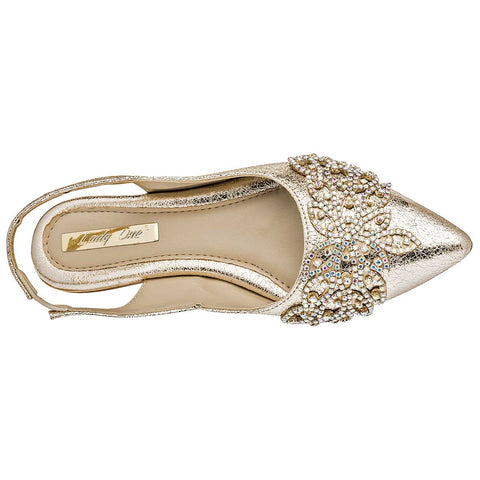 Lady One. Zapato casual para mujer color oro