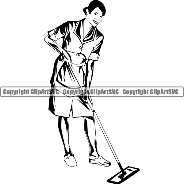 Maid Cleaning Service Housekeeping Housekeeper ClipArt SVG