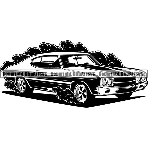 Sports Car 1970 Chevrolet Chevelle SS ClipArt SVG