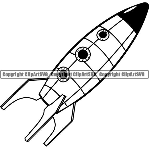 Astronaut Outer Space Shuttle Sci-Fi Science Fiction Rocket ClipArt SVG