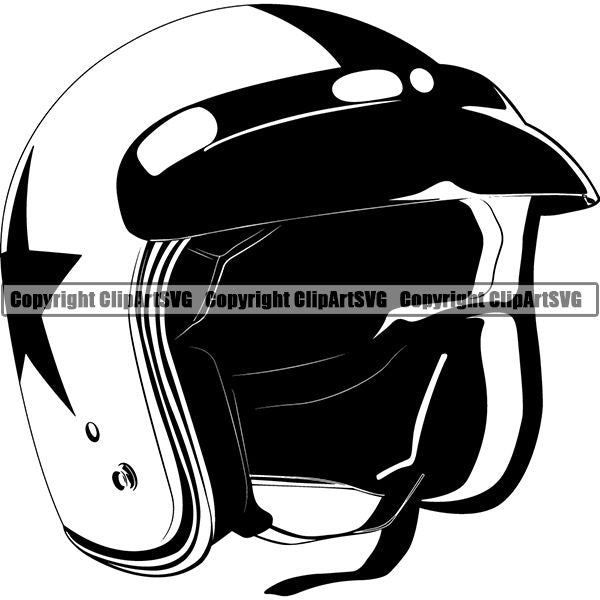 Motorcycle Bike Chopper Helemet ClipArt SVG
