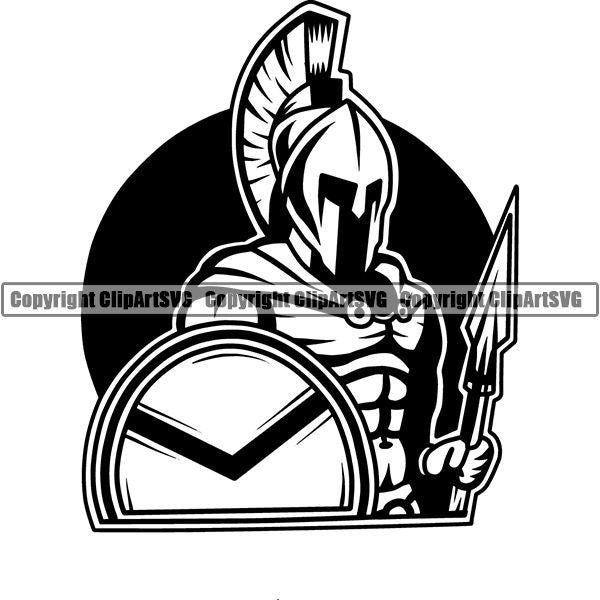 Spartan Warrior Gladiator Mask Logo ClipArt SVG