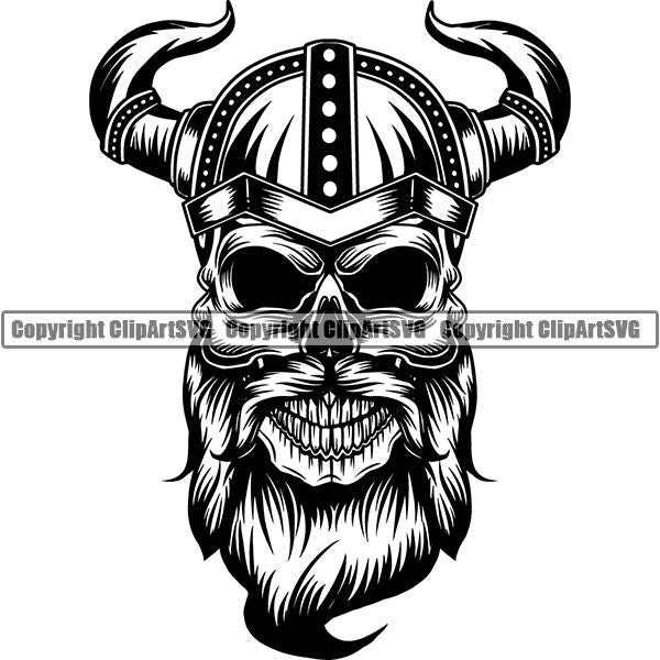 Viking Warrior Skull ClipArt SVG