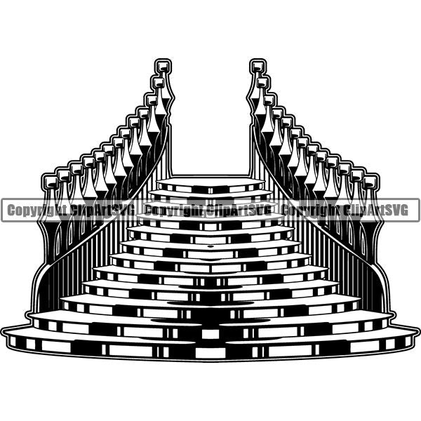 House Staircase Stairway Stairs Entrance ClipArt SVG