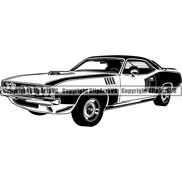 Sports Car 1971 Plymouth Hemi Cuda ClipArt SVG