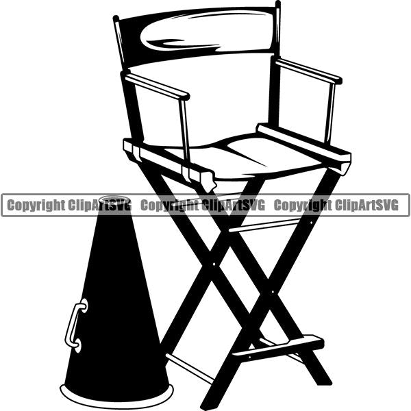 Acting Actor Movie Performer Performance Director Chair Megaphone ClipArt SVG
