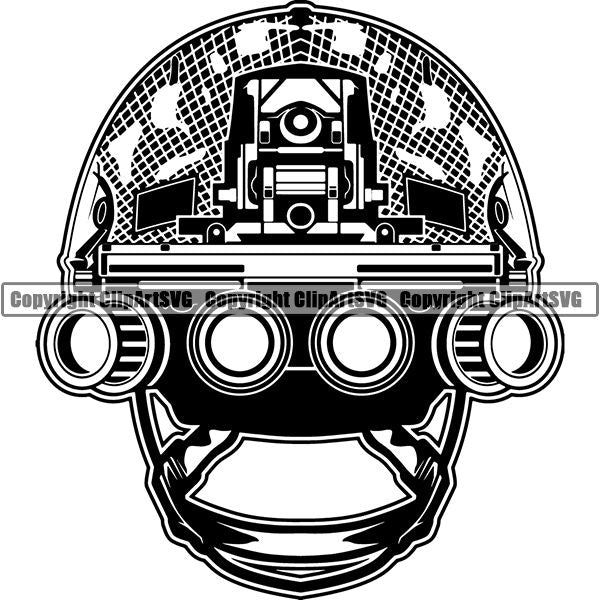 Military Weapon Soldier Helmet Army Helmet Night Vision Googles ClipArt SVG