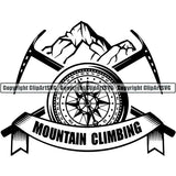 Mountain Climbing Rock Climber Logo ClipArt SVG