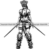 Viking Warrior Barbarian Woman Female Warrior ClipArt SVG