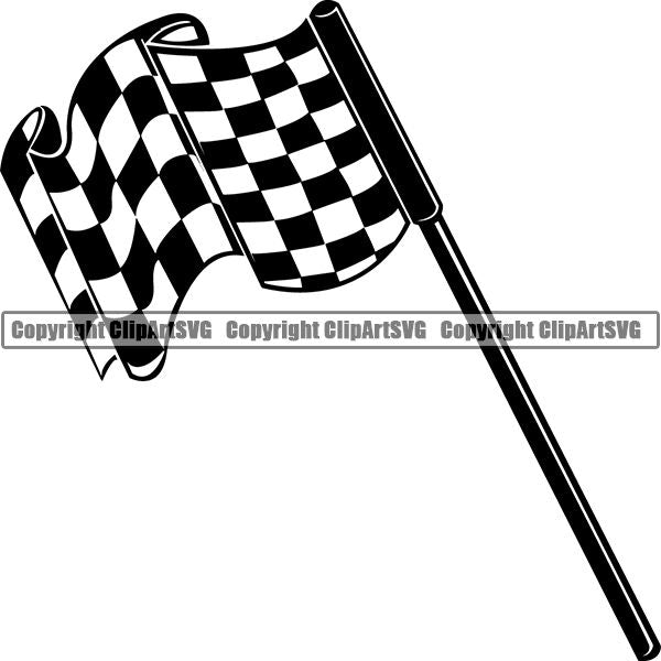 Sports Car Racing Checkered Flag ClipArt SVG
