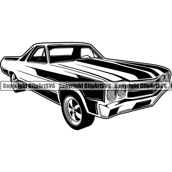 Sports Car Vintage Retro Classic ClipArt SVG