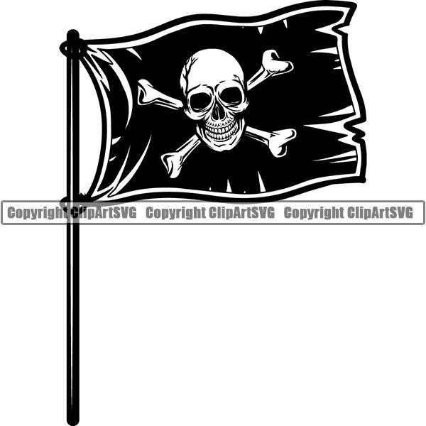 Pirate Sea Gangster Criminal Warrior Flag ClipArt SVG