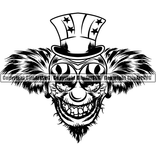 Evil Scary Clown ClipArt SVG