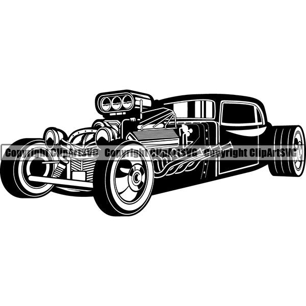 Sports Car Muscle Classic Hot Rod ClipArt SVG