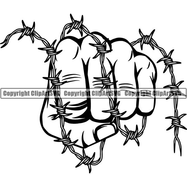 Design Element Human Hand Barbed Wire ClipArt SVG