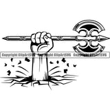 Viking Warrior Axe Double ClipArt SVG