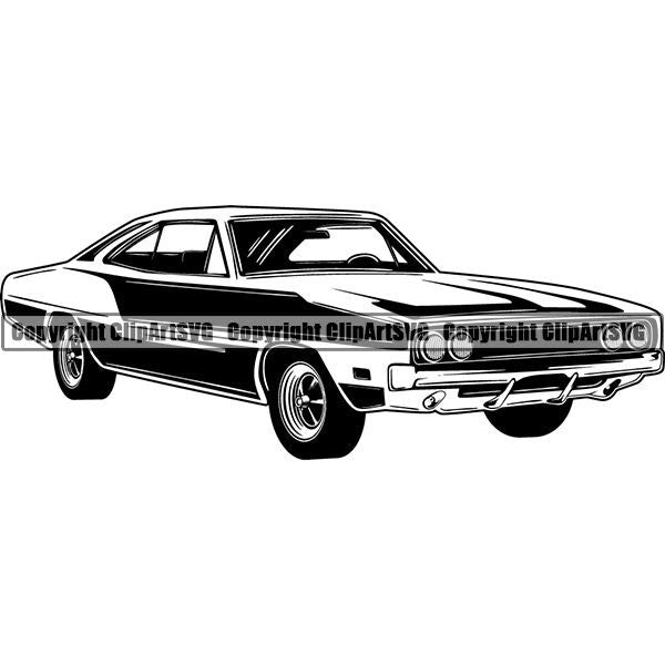 Sports Car 1969 Dodge Charger ClipArt SVG