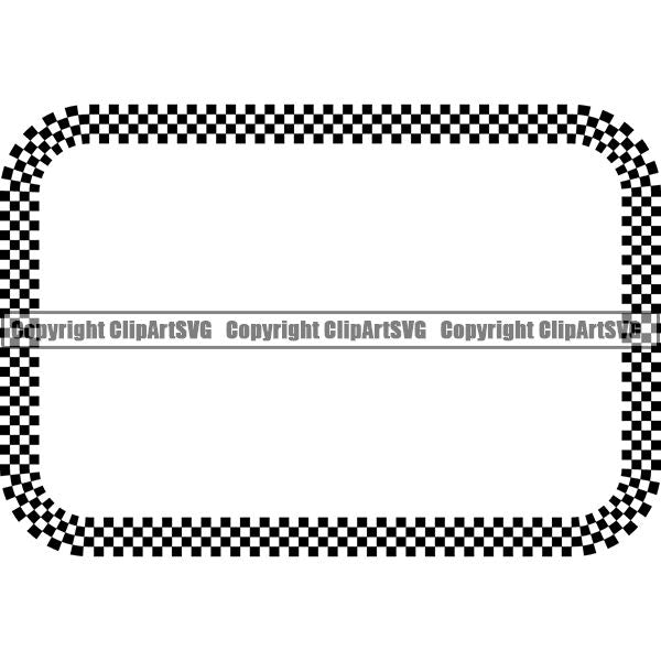 Sports Car Design Element Frame Border Checkerboard Straight Rectangle ClipArt SVG