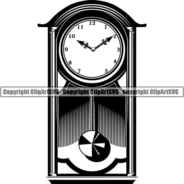 House Retro Grandfather Clock ClipArt SVG