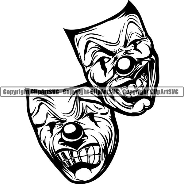 Skull Skeleton Mask Smile Now Cry Later Tattoo Tat ClipArt SVG