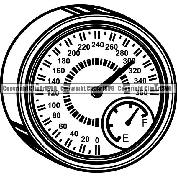 Sports Car Racing Speed RPM Guage ClipArt SVG