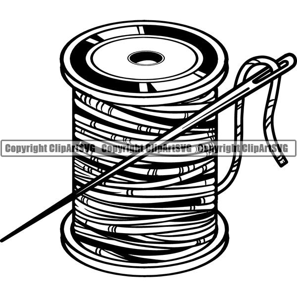 Tailor Seamstress Alterations Thread Needle ClipArt SVG