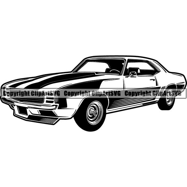 Sports Car 1969 Chevrolet Camaro Z28 ClipArt SVG
