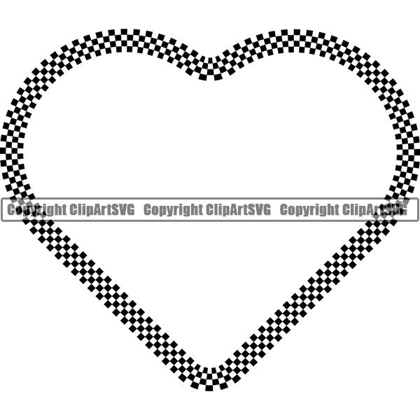 Sports Car Design Element Frame Border Checkerboard Straight Heart ClipArt SVG