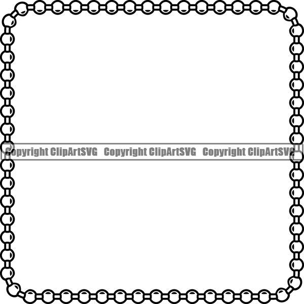 Military Weapon Soldier Dog Tag Chain White Square ClipArt SVG