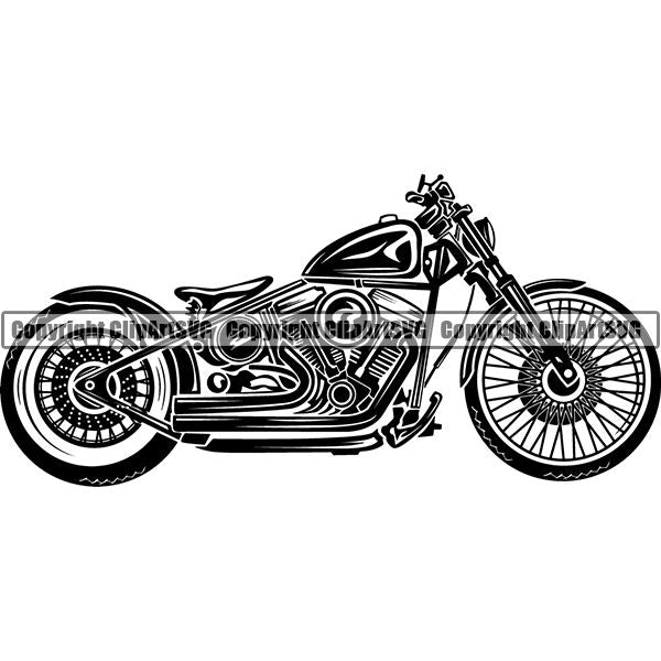 Motorcycle Bike Chopper ClipArt SVG