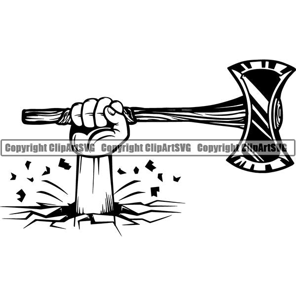 Viking Warrior Axe Double Sided ClipArt SVG