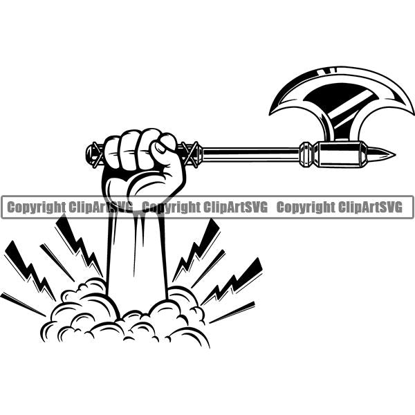 Viking Warrior Axe ClipArt SVG