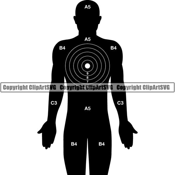 Military Weapon Gun Target Body Kill Spot ClipArt SVG