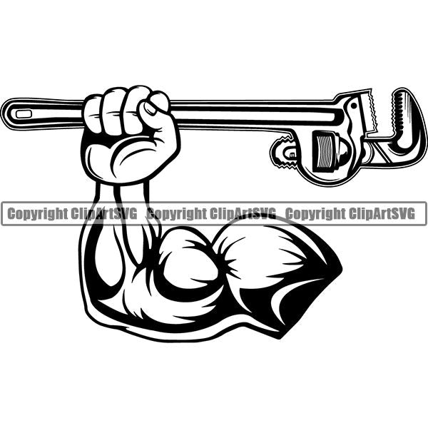 Plumbing Plumber Pipe Repair Service Wrench ClipArt SVG