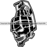 Military Weapon Grenade Skull ClipArt SVG